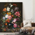 Akoestisch paneel | Zwarte Bloemen