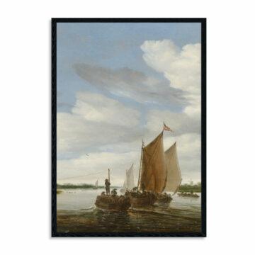 Akoestisch-paneel-Salomon-van-Ruysdael,-Rivierlandschap-met-zeilboten-en-een-trekschuit,-1660.jpg