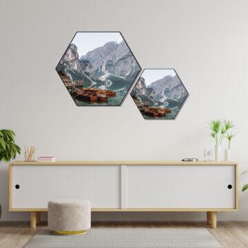Akoestische Hexagon   Rivier met bergen